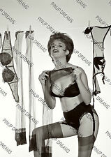 Vintage Pin-up Poster Print of Lady Pegging washing on the line in Panties#2 B&W