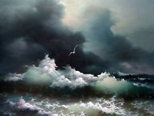 Beautiful Oil painting seascape ocean waves sea birds before storm canvas 36""