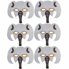 Pack of 6 Foam Elephant Masks - Childrens Safari Animal Masks