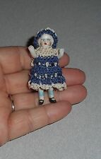 Tiny  Antique Bisque Doll with Crochet Dress and Hat - Marked - Germany