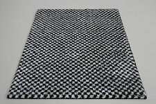 Quality Large Black White Shag Pile Rug 120cm x 160cm 10mm Thick Rug Alhambra 90