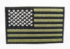 US AMERICAN ARMY GREEN & BLACK NATIONAL FLAG IRON/SEW ON MILITARY PATCH SHOULDER