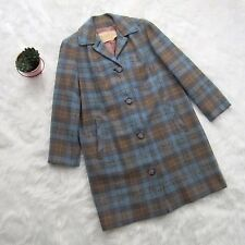 Warranted to be a Pendleton 100% Virgin Wool Blue Plaid Button Front Trench Coat