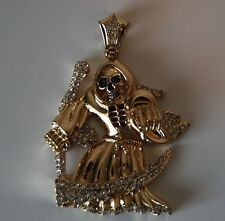 Iced out Angel of death hip hop skull Celtic pendant amazing detail gold tone