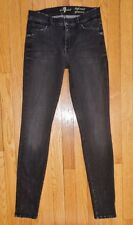 Seven 7 For All Mankind HIGH WAIST GWENEVERE Skinny Jeans Gray Black 26 EUC!