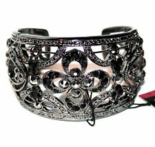 Lady Jet Black Crystal Vintage Antique Filigree Adjustable Cuff Flower Bracelet