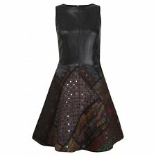 Muubaa Kashi Leather Rilli Dress in Black Aztec. RRP £400. M0443. UK 10.