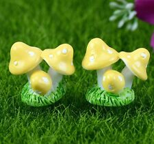 FD2300 Mushroom Miniature Dollhouse Ornament Flower Pot Plant Craft Yellow 1pc