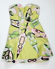EMILIO PUCCI Womens VINTAGE Green Abstract Silk Halter Shift Mini Dress 0/XXS