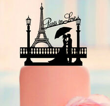 PERSONALIZED WEDDING CAKE TOPPER CUSTOM PARIS IN LOVE THEMED BLACK SILHOUETTE