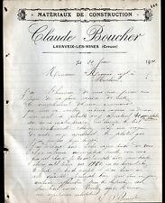 """LAVAVEIX-les-MINES (23) MATERIAUX de CONSTRUCTION """"Claude BOUCHER"""" en 1911"""