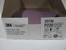 3M HOOKIT CERAMIC HOOK AND LOOP SANDING DISCS 220 GRIT 5 INCH 1 Box ( 50 EA)
