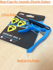 HAZE High Grade Zinc Alloy Acoustic/Electric Guitar Capo,pin puller,Blue+3 Picks