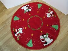 """Vtg Finished Felt Sequins Beads xmas Tree Skirt Santa snowmen 44"""" Handstitched"""
