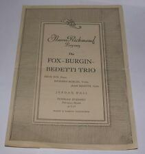 AARON RICHMOND PRESENTS FOX BURGIN BEDETTI TRIO JORDAN HALL BOSTON MA PROGRAM