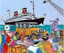 """Tableau Art Deco Marin Paquebot Tacot """" Les amoureux sur le port """" KRIS MILVY"""