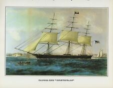 """1978 Vintage """"CLIPPER SHIP NIGHTINGALE NY NYC"""" CURRIER & IVES COLOR Lithograph"""