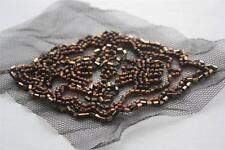 """Pretty marron bronze perles diamant losange applique vtg style patch 3.5 x 2.5"""""""