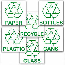 6 x Recycling Bin Stickers-Recycle Paper,Plastic,Cans,Bottles.With Logo Signs