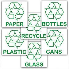 6 x riciclaggio Bin stickers-recycle carta, plastica, lattine, bottles.with LOGO segni