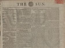 "RARE ORIGINAL NEWSPAPER ""THE SUN""(24 May 1800) ADULTERY BILL-ARMY ON THE RHINE"