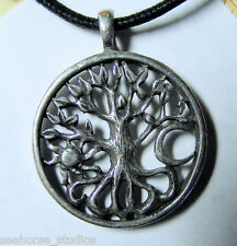 WICCA Pagan CELTIC TREE OF LIFE Pewter PENDANT / AMULET w/ black necklace cord