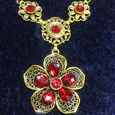 Antique Red Ruby Flower Pendant Necklace 14K Gold Filled Jewelry for Woman