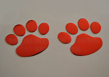 RED Chrome Effect Paw Dog Cat Print Badges for Nissan Micra CC Pixo Primera Car