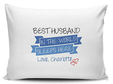 Personalised Best Husband In The World Sleeps Here Pillow Cases - Brand New