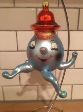 "1993 vintage Italian glass Radko ornament ""Wally""  Octopus Blue Red Hat"