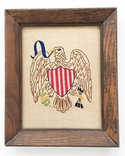 Patriotic Americana Eagle Liberty Stitched Completed Embroidery Sampler on Linen