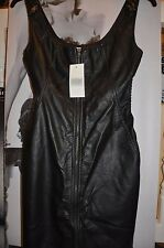 "PARTY DRESS ""DEREK HEART""FAUX LEATHER BLACK MINI BODYCON FITTED STRETCH 10"