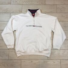 Vintage Tommy Hilfiger SPELL OUT Long Sleeve Pullover 1/2 Zip Sweater Mens Large