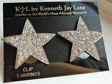 VINTAGE Kenneth Jay Lane KJL Large Silver-tone Stella Orecchini a Clip con Strass
