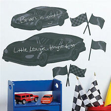 WALLIES RACE CARS CHALKBOARD wall stickers 8 decals finish flags racing decor
