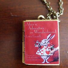 Alice's Adventures in Wonderland book LOCKET necklace Red Cover w/ Rabbit
