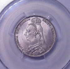 Great Britain Shilling 1892 Silver Pcgs Ms65 Large bust type High grade Nice