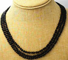 Fashion jewelry 3 rows 4 mm natural black onyx bead necklace 17-19 ""