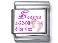 BABY GIRL NAME BIRTHDATE CUSTOM PERSONALIZE 9MM ITALIAN CHARM BIRTH NEWBORN