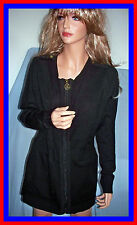 NWT L  12 14 Large Black Long Sleeve Sweater Jacket Full Zipper Coat Relaxed