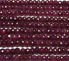 "14"" Strand Genuine RUBY 5.5-6mm Faceted Rondelle Beads /d6"