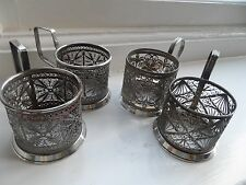 Antique Set Of 4  Russian Silver Plated  filigree  Cup Holders MMET No Reserve