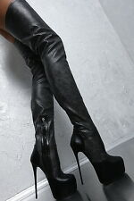 NEU 1969 ITALY Stretch Lang Overknee High Heel Stiefel Plateau H40 Boots Leder
