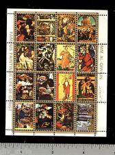 Umm al Qiwain Religious Paintings mini sheet of 16 stamps CTO Life of Christ I