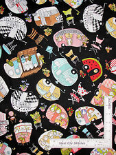 Loralie Vintage Holiday Camper RV Toss Black Cotton Fabric Camp Trailers - YARD