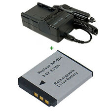 D Type Lithium Ion NP-BD1 Battery + Charger For Sony NPBD1 FD1 DSC-T500 T700