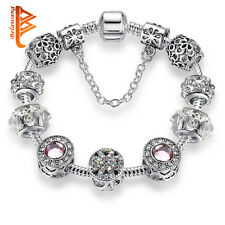 Open Pandora 's Box PINK and DIAMANTE HEART SILVER European Charm Bracelet