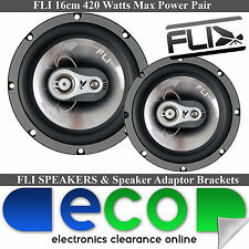 "Fiat Punto 2006-2014 FLI 16cm 6.5"" 420 Watts 3 Way Front Door Car Speakers"