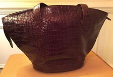 BORSETTA MILANO GENUINE LEATHER POCKET BOOK PURSE BAG BROWN CROCODILE PATTERN
