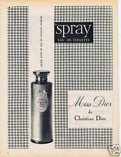Publicité Advertising 056 1961 Christian Dior Miss Dior  Spray eau de toilette
